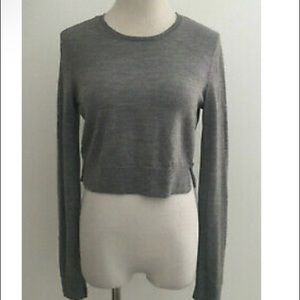 Bcbgmaxazria Gray Cropped Wool Sweater sz Small